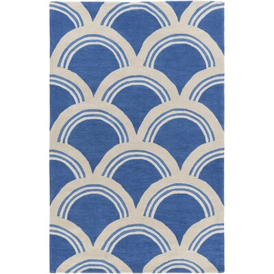 Oppenheimer Hand Tufted Blue/Ivory Area Rug Rug Size: Rectangle 33 x 53