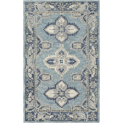 Alongi Hand Hooked Wool Teal/Navy Area Rug Rug Size: Rectangle 2 x 3