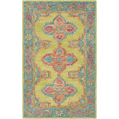 Alongi Hand Hooked Wool Lime/Teal Area Rug Rug Size: Rectangle 2 x 3
