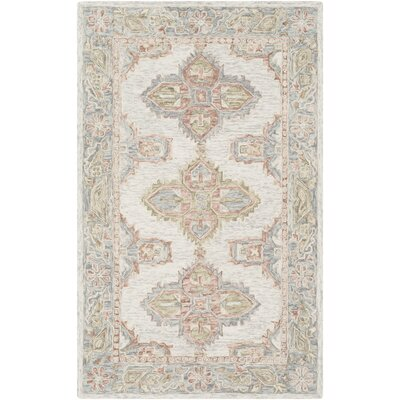 Alongi Hand Hooked Wool Blue Pale/Grass Green Area Rug Rug Size: Rectangle 5 x 76