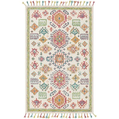 Alongi Hand Hooked Wool Ivory/Grass Green Area Rug Rug Size: Rectangle 5 x 76