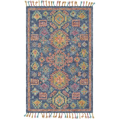 Alongi Hand Hooked Wool Navy/Burnt Orange Area Rug Rug Size: Rectangle 8 x 10