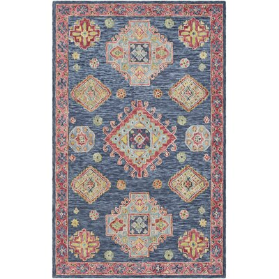 Alongi Hand Hooked Wool Navy/Red Area Rug Rug Size: Rectangle 5 x 76