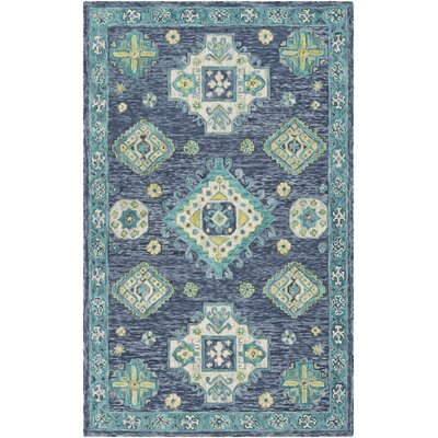Alongi Hand Hooked Wool Navy/Turquoise Area Rug Rug Size: Rectangle 5 x 76
