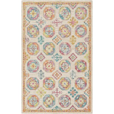 Alongi Hand Hooked Wool Tan/Orange Area Rug Rug Size: Rectangle 8 x 10