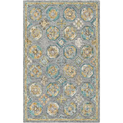 Alongi Hand Hooked Wool Gray/Teal Area Rug Rug Size: Rectangle 2 x 3