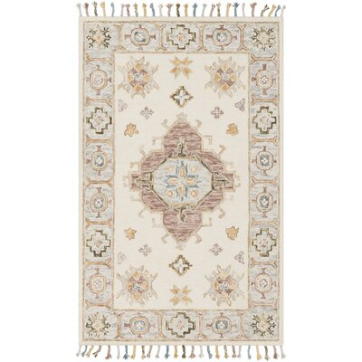 Alongi Hand Hooked Wool Ivory/Gray Area Rug Rug Size: Rectangle 5 x 76