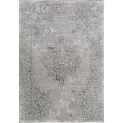 Pickrell Distressed Gray Area Rug Rug Size: Rectangle 92 x 129