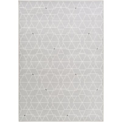 Clearman Modern Light Gray/White Area Rug Rug Size: Rectangle 92 x 129