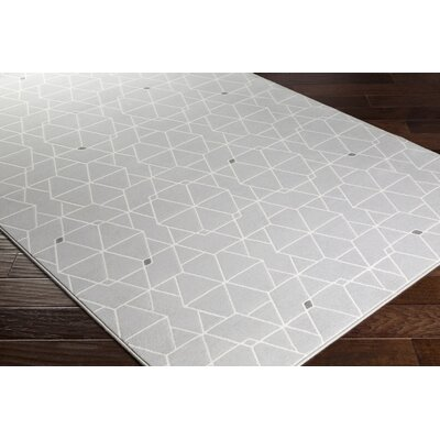 Clearman Modern Light Gray/White Area Rug Rug Size: Runner 27 x 71