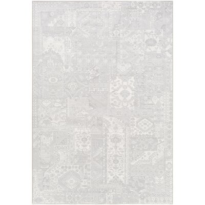 Pickrell Light Gray/White Area Rug Rug Size: Rectangle 92 x 129