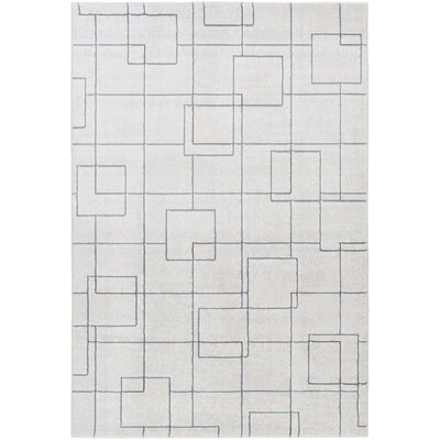 Chacon Modern White/Light Gray Area Rug Rug Size: Rectangle 92 x 129