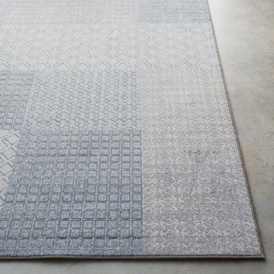 Clearman Modern White/Light Gray Area Rug Rug Size: Runner 27 x 71