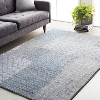 Clearman Modern White/Light Gray Area Rug Rug Size: Rectangle 92 x 129