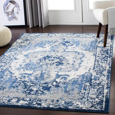 Almendarez Distressed Pale Blue/Navy Area Rug Rug Size: Rectangle 710 x 103