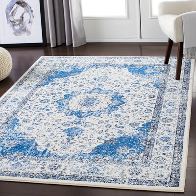 Almendarez Distressed Blue/Ivory Area Rug Rug Size: Rectangle 710 x 103