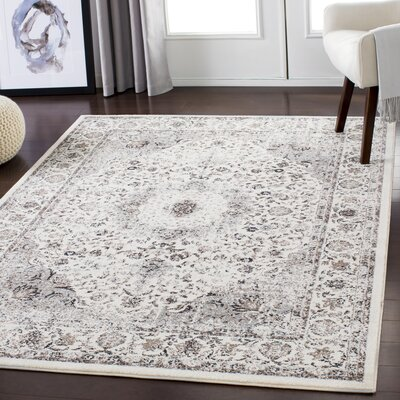 Maleisha Distressed Taupe/Beige Area Rug Rug Size: Rectangle 53 x 73