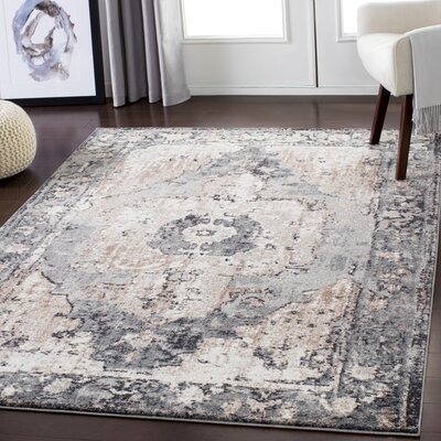 Almendarez Distressed Charcoal/Taupe Area Rug Rug Size: Rectangle 710 x 103