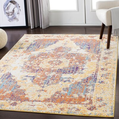 Almendarez Distressed Gold/Orange Area Rug Rug Size: Rectangle 2 x 3