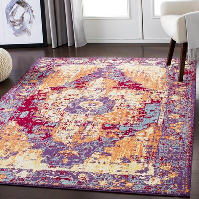 Almendarez Distressed Red/Purple Area Rug Rug Size: Rectangle 53 x 73