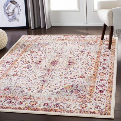 Almendarez Distressed Ivory/Gold Area Rug Rug Size: Rectangle 2' x 3'