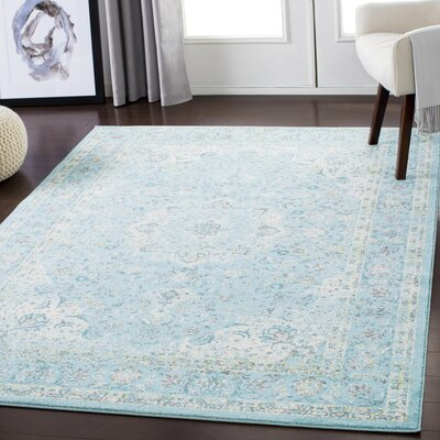 Maleisha Distressed Light Blue/Ivory Area Rug Rug Size: Rectangle 53 x 73