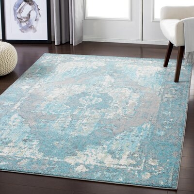 Almendarez Distressed Teal/Off-White Area Rug Rug Size: Rectangle 2 x 3