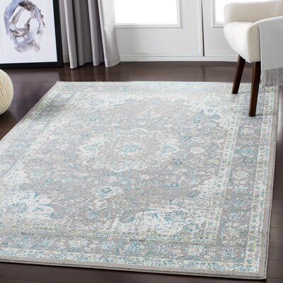 Maleisha Silver Gray/Teal Area Rug Rug Size: Rectangle 2 x 3