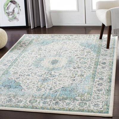 Almendarez Distressed Light Blue/Grass Green Area Rug Rug Size: Rectangle 53 x 73