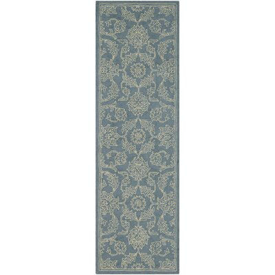 Puttney Hand Hooked Wool Denim/Khaki Area Rug Rug Size: Runner 2 x 68