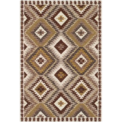 Morais Bohemian Hand Hooked Wool Dark Brown/Beige Area Rug Rug Size: Rectangle 8 x 10