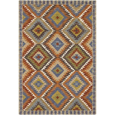 Morais Bohemian Hand Hooked Wool Khaki/Denim Area Rug Rug Size: Rectangle 5 x 76