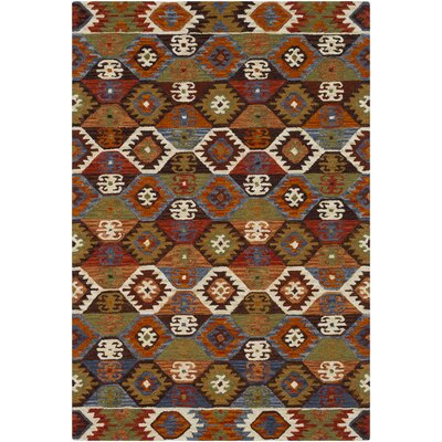Morais Bohemian Hand Hooked Wool Dark Brown/Rust Area Rug Rug Size: Rectangle 2 x 3
