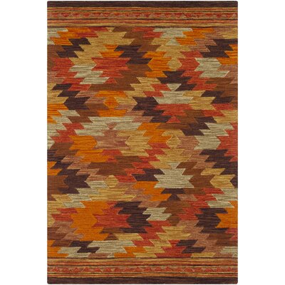 Morais Bohemian Hand Hooked Wool Terracotta/Bright Red Area Rug Rug Size: Rectangle 5 x 76