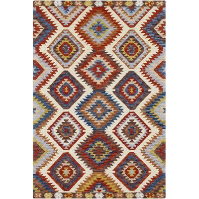 Morais Bohemian Hand Hooked Wool Dark Red/Khaki Area Rug Rug Size: Rectangle 2 x 3