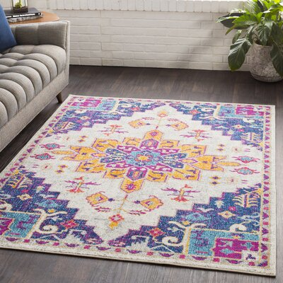 Almonte Pink/Dark Blue Area Rug Rug Size: Rectangle 53 x 76