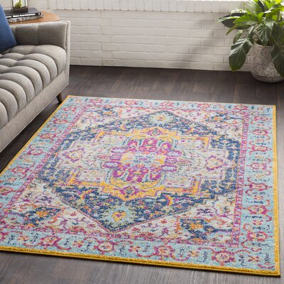 Almonte Pink/Yellow Area Rug Rug Size: Rectangle 53 x 76