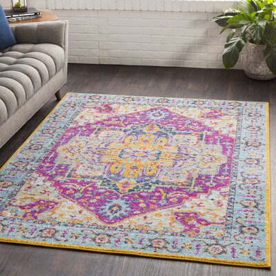 Almonte Pink/Light Blue Area Rug Rug Size: Rectangle 53 x 76