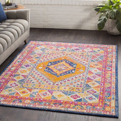 Almonte Gold/Pink Area Rug Rug Size: Rectangle 2 x 3