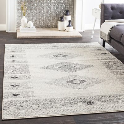 Morales Bohemian Charcoal/Ivory Area Rug Rug Size: Rectangle 53 x 76