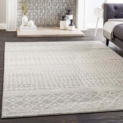 Kreutzer Distressed Beige/Light Gray Area Rug Rug Size: Rectangle 53 x 76