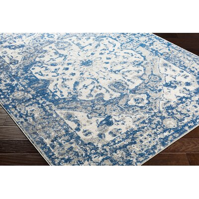 Almonte Distressed Navy/Light Gray Area Rug Rug Size: Runner 27 x 76