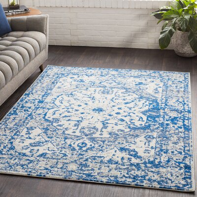 Almonte Distressed Navy/Light Gray Area Rug Rug Size: Rectangle 53 x 76