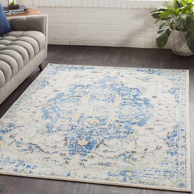 Almonte Distressed Blue/Yellow Area Rug Rug Size: Runner 27 x 76