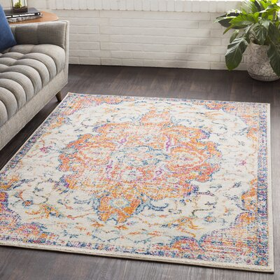 Almonte Distressed Burnt Orange/Navy Area Rug Rug Size: Rectangle 53 x 76