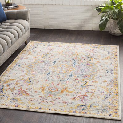 Almonte Distressed Saffron/Light Gray Area Rug Rug Size: Rectangle 2 x 3