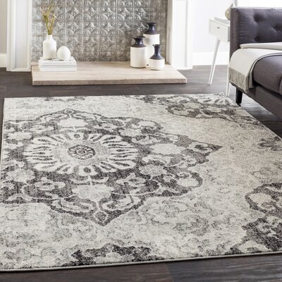 Drennen Distressed Charcoal/Light Gray Area Rug Rug Size: Rectangle 53 x 76