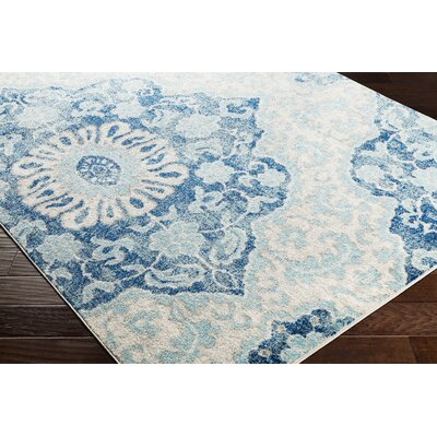 Drennen Distressed Navy/Light Blue Area Rug Rug Size: Runner 27 x 76