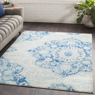 Drennen Distressed Navy/Light Blue Area Rug Rug Size: Rectangle 53 x 76