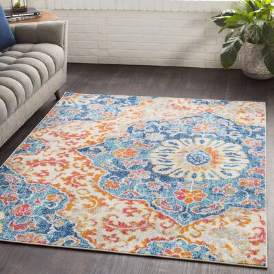 Drennen Distressed Blue/Burnt Orange Area Rug Rug Size: Rectangle 53 x 76